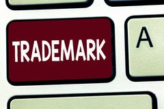 Writing note showing Trademark. Business photo showcasing Legally registered Copyright Intellectual Property Protection.  stock photos