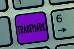 Writing note showing Trademark. Business photo showcasing Legally registered Copyright Intellectual Property Protection.  stock image
