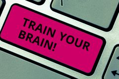 Writing note showing Train Your Brain. Business photo showcasing Educate yourself get new knowledge improve skills. Writing note showing Train Your Brain royalty free stock photo