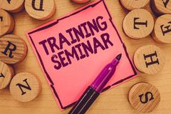 Writing note showing Training Seminar. Business photo showcasing Academic instruction Formal presentation of a research stock photos
