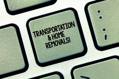 Writing note showing Transportation And Home Removals. Business photo showcasing Moving shipping packages new house. Keyboard Intention to create computer royalty free stock photography
