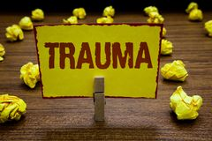 Writing note showing Trauma. Business photo showcasing deeply distressing or disturbing experience Physical injury stock image
