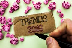 Writing note showing Trends 2019. Business photo showcasing Current Movement Latest Branding New Concept Prediction written by Ma. N Holding Marker Tear royalty free stock images