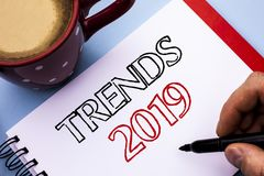 Writing note showing Trends 2019. Business photo showcasing Current Movement Latest Branding New Concept Prediction written on No. Writing note showing Trends royalty free stock image