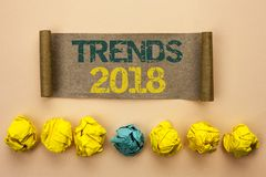 Writing note showing Trends 2018. Business photo showcasing Current Movement Latest Modern Branding New Concept Prediction writte. N Cardboard Paper the plain royalty free stock photography
