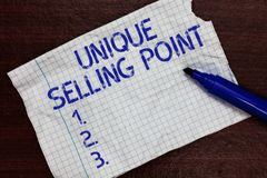 Writing note showing Unique Selling Point. Business photo showcasing Differentiate a Product Specific Features and Benefits Square stock photo