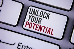 Writing note showing Unlock Your Potential. Business photo showcasing Reveal talent Develop abilities Show personal skills writte. N white keyboard key with copy royalty free stock photos