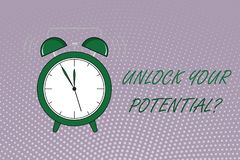 Writing note showing Unlock Your Potential question. Business photo showcasing Maximize your Ability Use God given gift.  vector illustration
