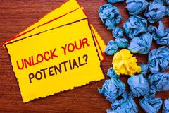 Writing note showing Unlock Your Potential question. Business photo showcasing Maximize your Ability Use God given gift.  royalty free stock photo