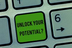 Writing note showing Unlock Your Potential question. Business photo showcasing Maximize your Ability Use God given gift.  royalty free stock photography