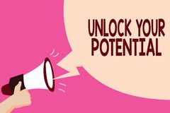 Writing note showing Unlock Your Potential question. Business photo showcasing Maximize your Ability Use God given gift.  royalty free illustration