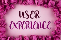 Writing note showing  User Experience. Business photo showcasing Customer experience feedback web infrastructure development writt. En plain background within Stock Images