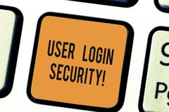 Writing note showing User Login Security. Business photo showcasing set of credentials used to authenticate. Demonstrating Keyboard key Intention to create stock photography