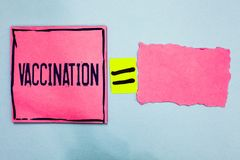 Writing note showing Vaccination. Business photo showcasing Treatment which makes the body stronger against infection Pink paper n. Otes reminders equal sign stock photo