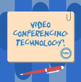 Writing note showing Video Conferencing Technology. Business photo showcasing People globally interacted through video. Data Square Color Board with Magnet vector illustration