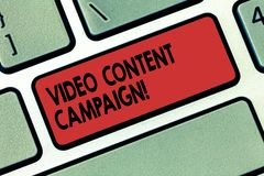 Writing note showing Video Content Campaign. Business photo showcasing Integrates engaging video into marketing. Campaigns Keyboard key Intention to create vector illustration