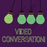 Writing note showing Video Conversation. Business photo showcasing Communicating visually with another demonstrating via. Writing note showing Video Conversation stock illustration