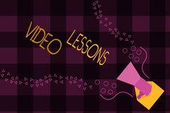 Writing note showing Video Lessons. Business photo showcasing Online Education material for a topic Viewing and learning.  Vector Illustration