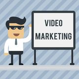 Writing note showing Video Marketing. Business photo showcasing create short videos about specific topics using articles. Writing note showing Video Marketing stock illustration