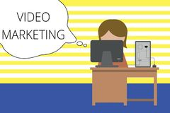 Writing note showing Video Marketing. Business photo showcasing create short videos about specific topics using articles. Writing note showing Video Marketing royalty free illustration