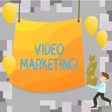 Writing note showing Video Marketing. Business photo showcasing Media Advertising Multimedia Promotion Digital Strategy. Writing note showing Video Marketing vector illustration