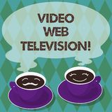 Writing note showing Video Web Television. Business photo showcasing television shows hosted on the channel s is. Websites Sets of Cup Saucer for His and Hers stock illustration