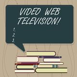 Writing note showing Video Web Television. Business photo showcasing television shows hosted on the channel s is. Websites Uneven Pile of Hardbound Books and vector illustration