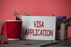 Writing note showing Visa Application. Business photo showcasing Form to ask permission travel or live in another. Writing note showing Visa Application stock images
