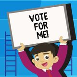 Writing note showing Vote For Me. Business photo showcasing Campaigning for a government position in the upcoming. Election royalty free illustration