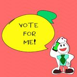 Writing note showing Vote For Me. Business photo showcasing Campaigning for a government position in the upcoming. Election vector illustration