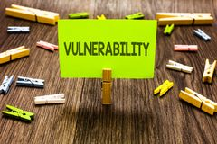 Writing note showing Vulnerability. Business photo showcasing Information susceptibility systems bug exploitation attacker Clips a. Rt board creative ideas paper royalty free stock photo