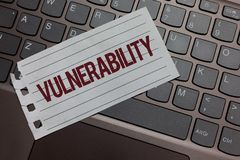 Writing note showing Vulnerability. Business photo showcasing Information susceptibility systems bug exploitation attacker Keyboar. D colour grey paper keys royalty free stock photos