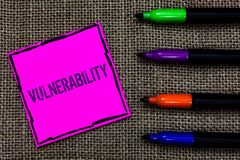 Writing note showing Vulnerability. Business photo showcasing Information susceptibility systems bug exploitation attacker Marker. Pens art pink paper nice mat royalty free stock image