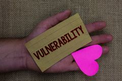 Writing note showing Vulnerability. Business photo showcasing Information susceptibility systems bug exploitation attacker Wood ar. T work memories lovely love stock photos