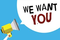 Writing note showing We Want You. Business photo showcasing Company wants to hire Vacancy Looking for talents Job employment Man h. Olding megaphone loudspeaker royalty free illustration