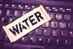 Writing note showing Water. Business photo showcasing colourless transparent odourless liquid which forms seas rivers.  stock images