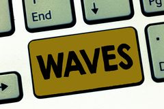 Writing note showing Waves. Business photo showcasing move ones hand to and fro in greeting or as signal Hair style Water.  royalty free stock photography