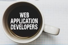 Writing note showing Web Application Developers. Business photo showcasing Internet programming experts Technology software Coffee
