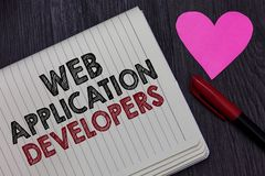 Writing note showing Web Application Developers. Business photo showcasing Internet programming experts Technology
