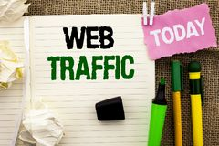 Writing note showing  Web Traffic. Business photo showcasing Internet Boost Visitors Audience Visits Customers Viewers written on Royalty Free Stock Photography