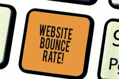 Writing note showing Website Bounce Rate. Business photo showcasing Internet marketing term used in web traffic analysis. Keyboard key Intention to create stock photo