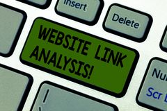 Writing note showing Website Link Analysis. Business photo showcasing evaluate the relationships between network nodes. Keyboard key Intention to create royalty free stock images