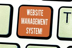 Writing note showing Website Management System. Business photo showcasing way to analysisage digital information on a. Website Keyboard key Intention to create stock photography