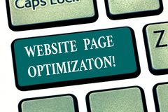 Writing note showing Website Page Optimization. Business photo showcasing Increase its search engine visibility and reach Keyboard royalty free stock photo