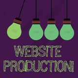 Writing note showing Website Production. Business photo showcasing process of creating websites and it s is components. Writing note showing Website Production vector illustration