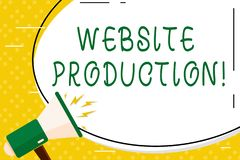 Writing note showing Website Production. Business photo showcasing process of creating websites and it s is components. Writing note showing Website Production royalty free illustration