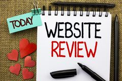 Writing note showing Website Review. Business photo showcasing Homepage Evaluation Customer Opinion Satisfaction Ranking written. Writing note showing Website stock photos