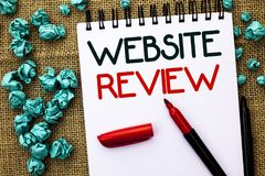 Writing note showing Website Review. Business photo showcasing Homepage Evaluation Customer Opinion Satisfaction Ranking written. Notebook Book the jute stock images