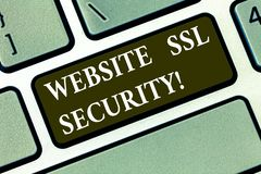 Writing note showing Website Ssl Security. Business photo showcasing encrypted link between a web server and a browser. Keyboard key Intention to create stock photography