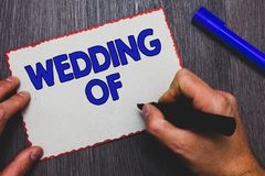 Writing note showing Wedding Of. Business photo showcasing announcing that man and woman now as married couple forever Man holding